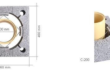 Icopal Wulkan C kaminų sistemos matmenys