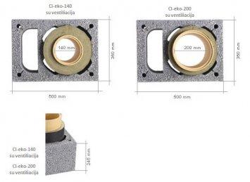 Icopal Wulkan CI-eko su ventiliacija kaminų sistemos metmenys
