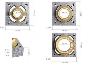 Icopal Wulkan CI kaminų sistemos matmenys