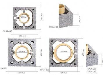 Icopal Wulkan C-SPS/k kaminų sistemos matmenys